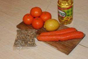 Ingredientai gaivioms morkų salotoms